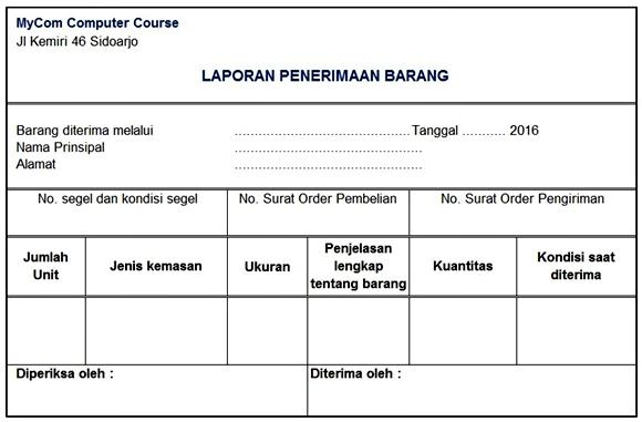 Dokumen Laporan Penerimaan Barang