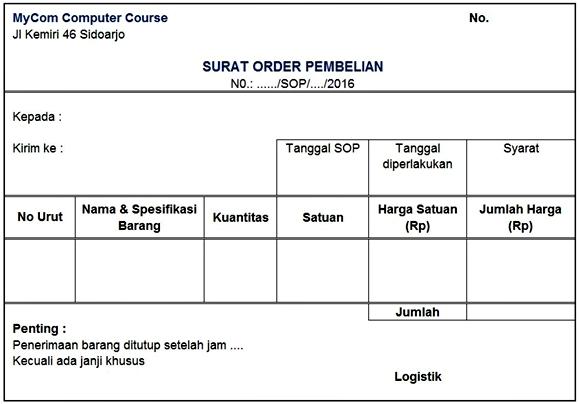 Dokumen Surat order pembelian (SOP)