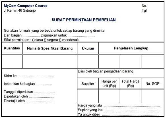 dokumen Surat permintaan pembelian