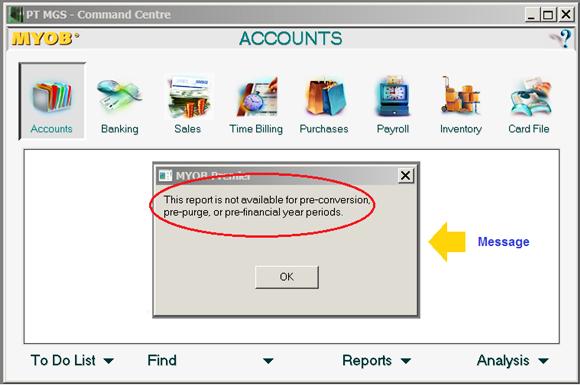 Laporan Keuangan tahun tertentu tidak bisa muncul di Myob