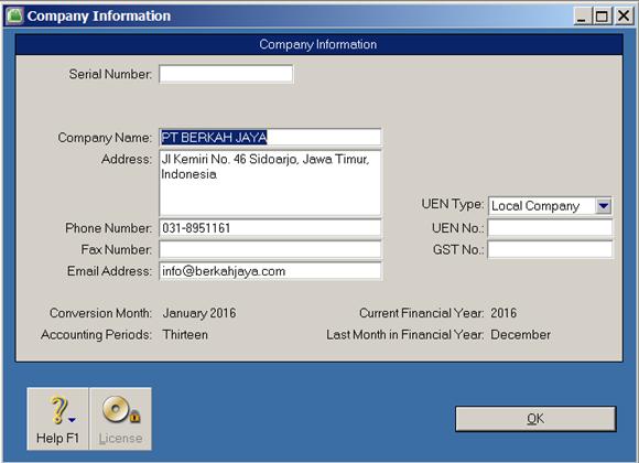 siklus akuntansi - Company information di MYOB