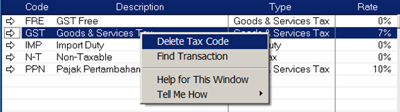 delete tax code