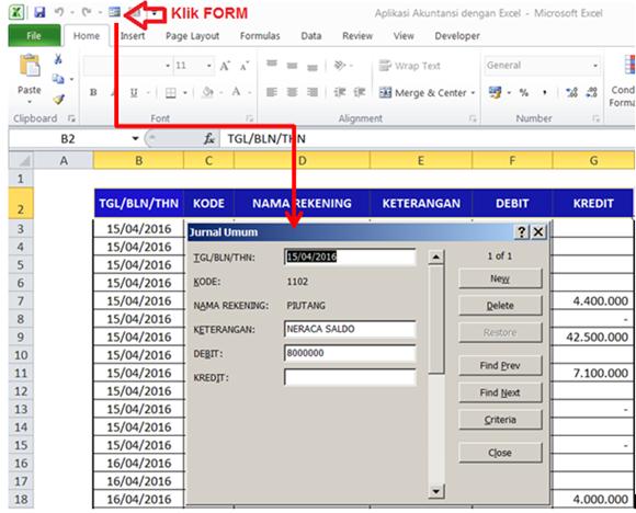 memasukkan data transaksi melalui menu FORM