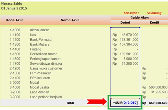 rumus Excel SUM - menghitung total debet