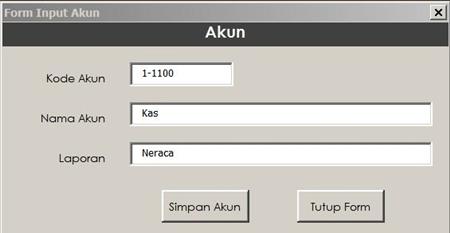 Form Input Kode Akun - input akun kas