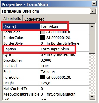 langkah 4 - membuat form input kode akun
