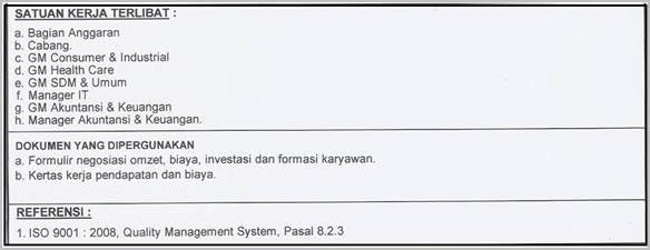 SOP - Bagian yang terlibat, Dokumen, referensi