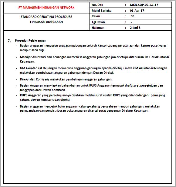 Contoh SOP Finalisasi Anggaran - Halaman 02