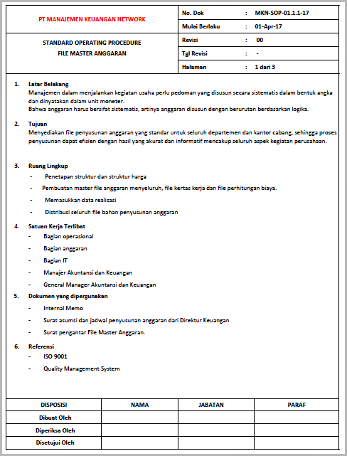 Contoh SOP File Master Anggaran