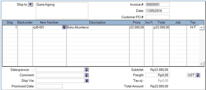 Komputerisasi akuntansi - contoh invoice