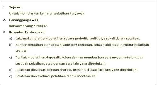 Contoh SOP Pelatihan Karyawan Perusahaan - ISI