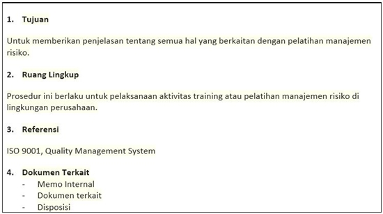 Contoh SOP Pelatihan Manajemen Risiko - Isi