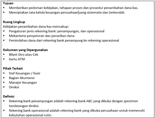 Contoh SOP Perusahaan Penambahan dana kas kecil