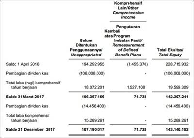 contoh laporan perubahan ekuitas
