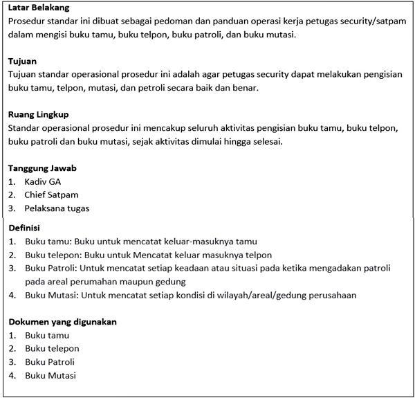 contoh sop security/ satpam