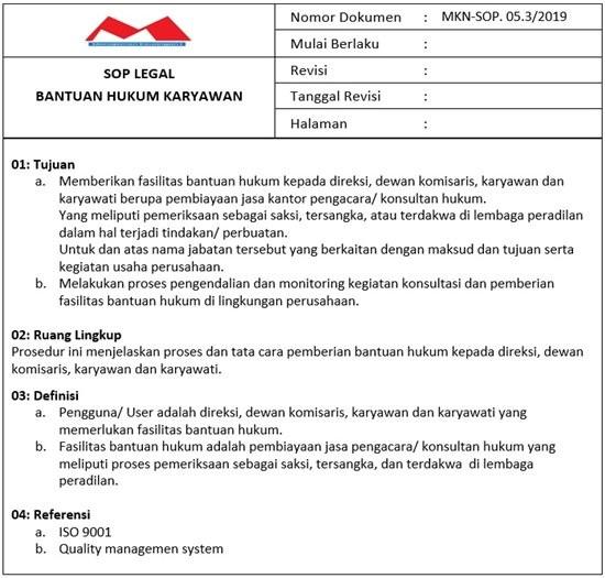 Contoh SOP Divisi Legal