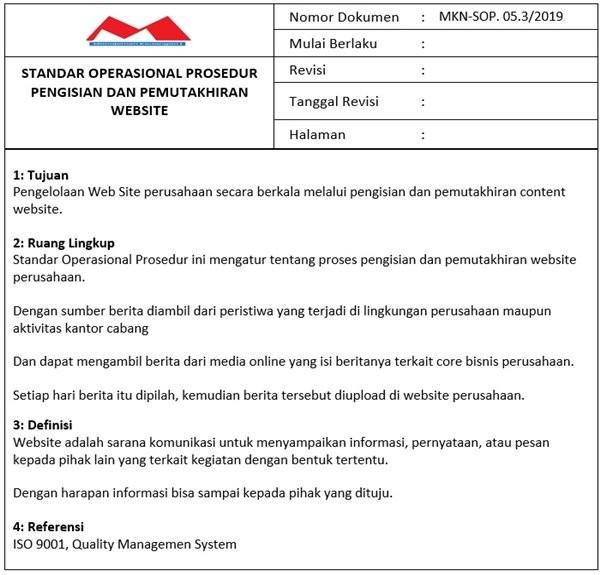 Contoh SOP Pemeliharaan Website