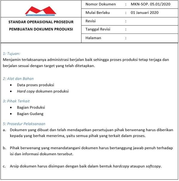 Contoh SOP Produksi - Dokumen