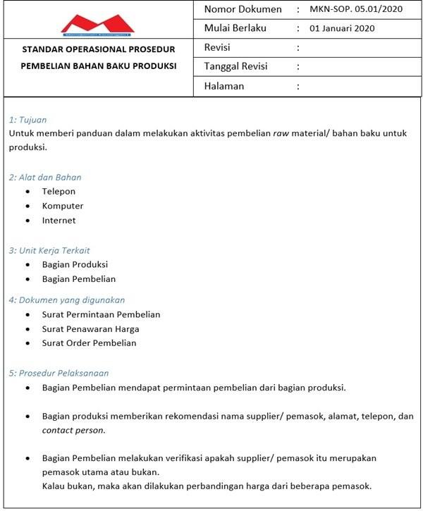 SOP Produksi - Pembelian Bahan Baku