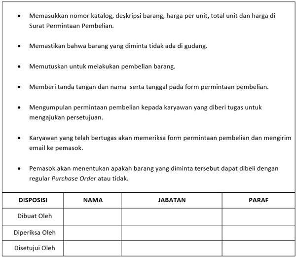 Contoh SOP Produksi - Pembelian Bahan Baku