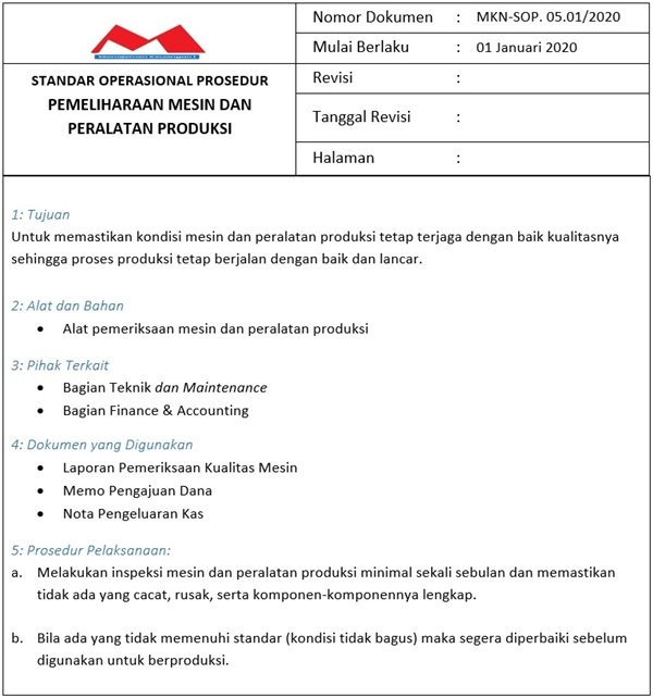 Contoh SOP Produksi - Pemeliharaan Mesin Produksi