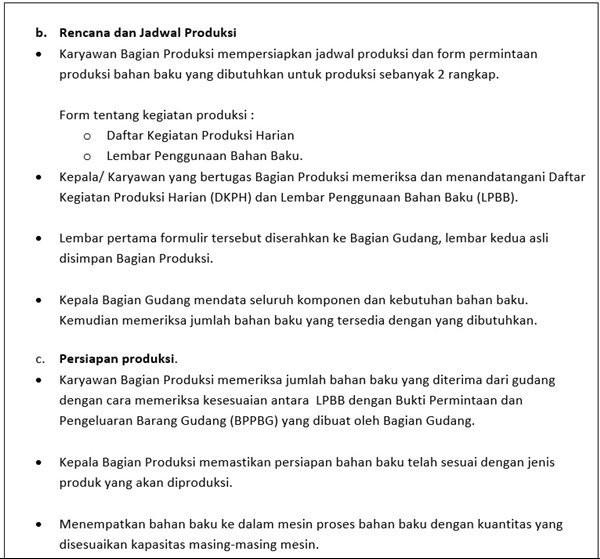 SOP Produksi - proses produksi