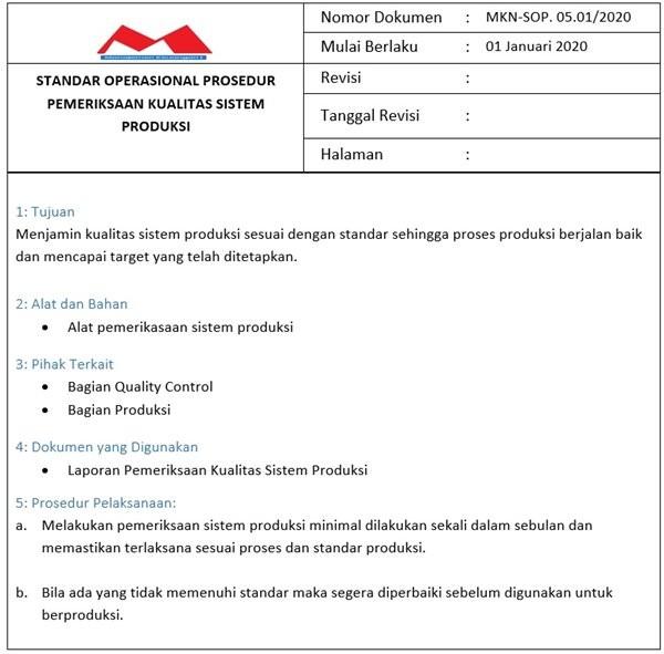 SOP Produksi -Sistem Produksi