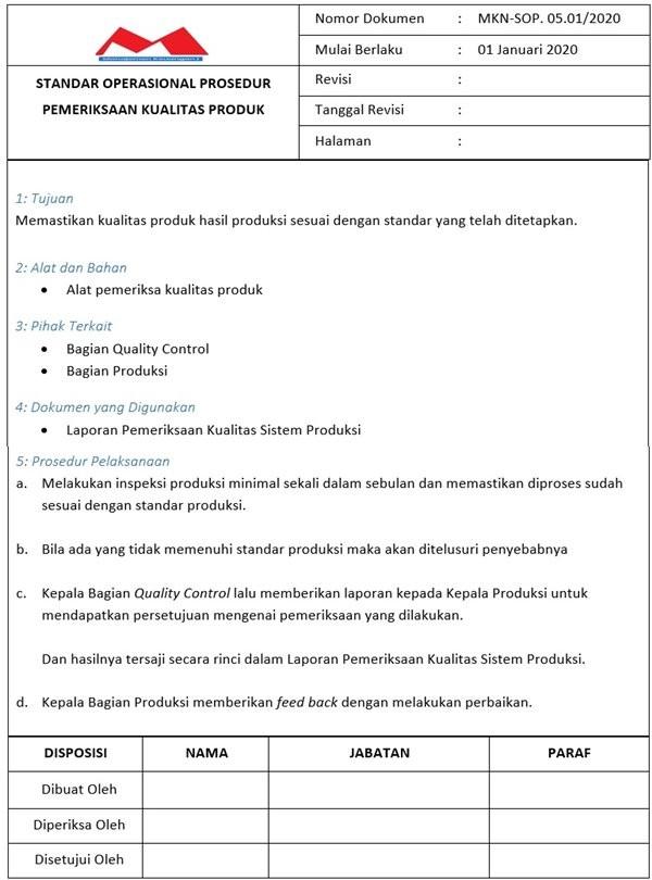 SOP Produksi - Quality Control Produk