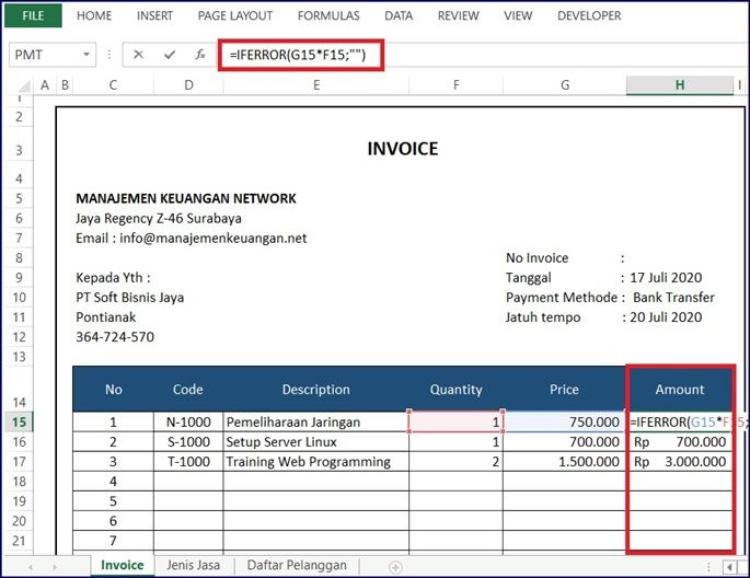 Sub Total Invoice Jasa