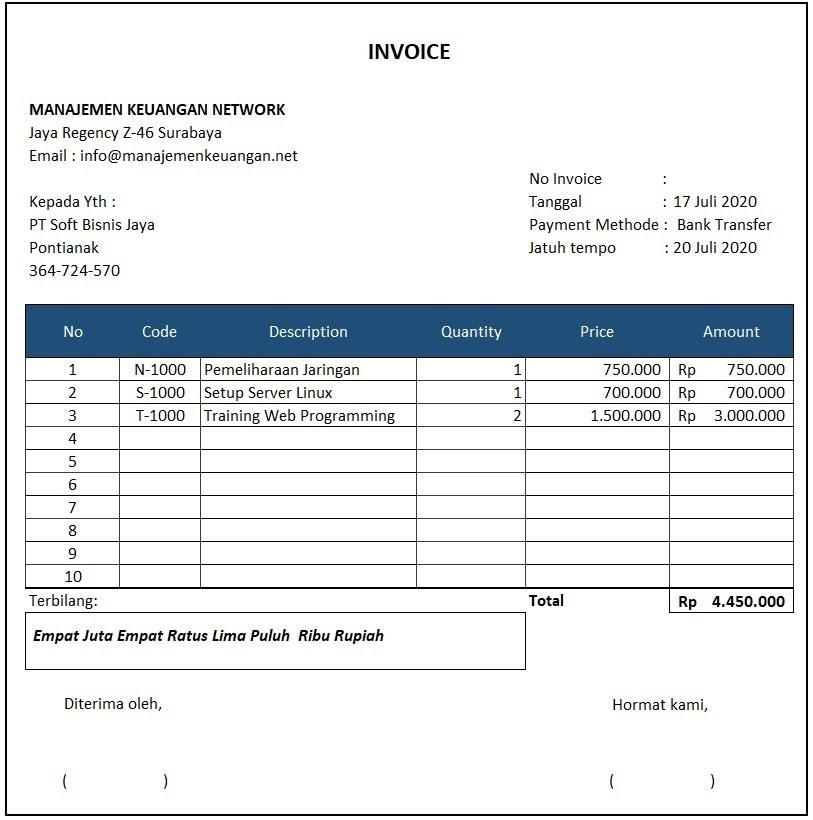 contoh invoice jasa Excel