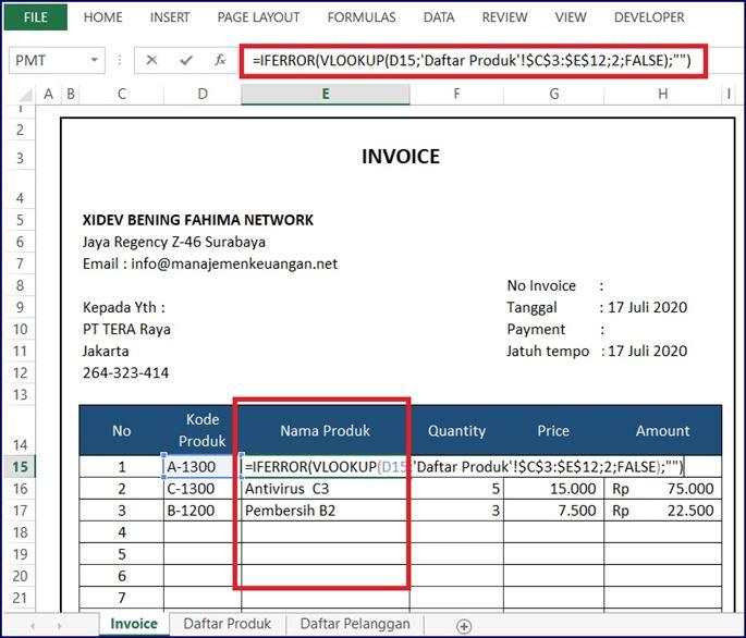Invoice Produk - Daftar Nama Produk