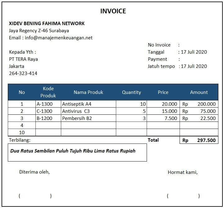 contoh invoice penagihan produk
