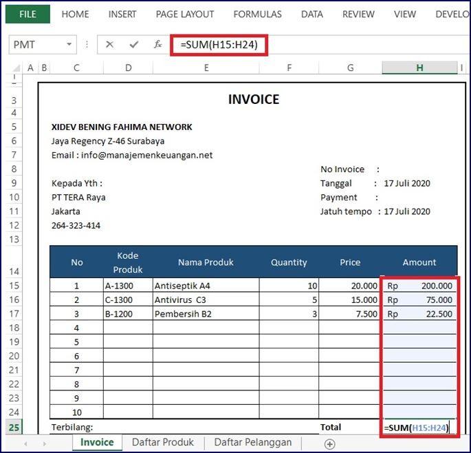Jumlah total Invoice Excel