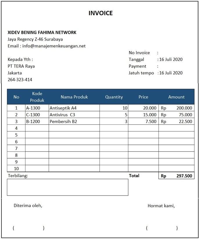 contoh invoice excel