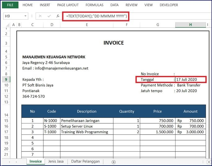 Tanggal Invoice jasa