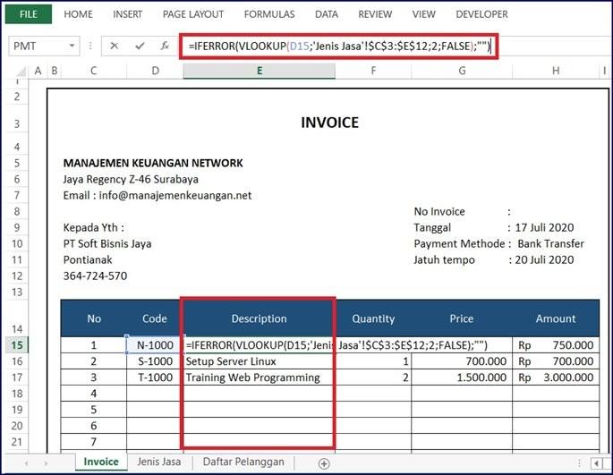 Contoh Invoice Jasa - Daftar Nama Jasa