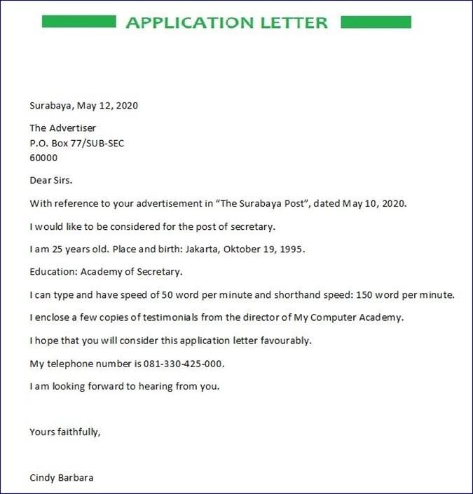 Contoh Surat Lamaran Kerja Bahasa Inggris Cv Wawancara