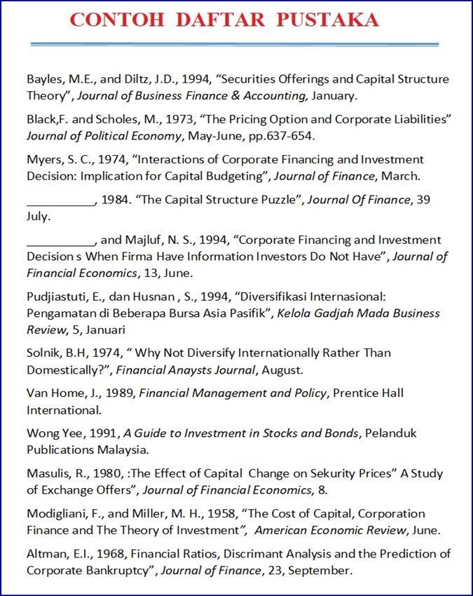 contoh daftar pustaka makalah