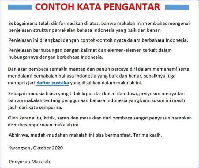 Contoh Kata Pengantar Makalah Bahasa Indonesia