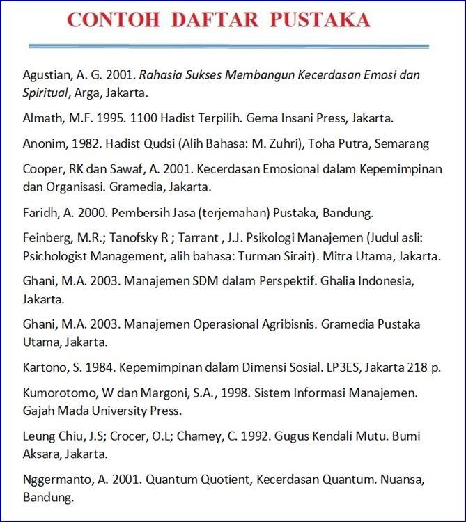 contoh daftar pustaka dari buku