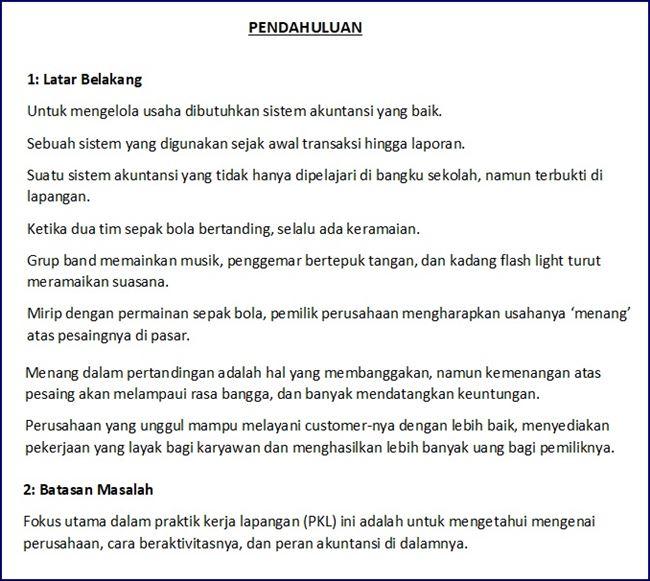 Contoh Pendahuluan Laporan PKL