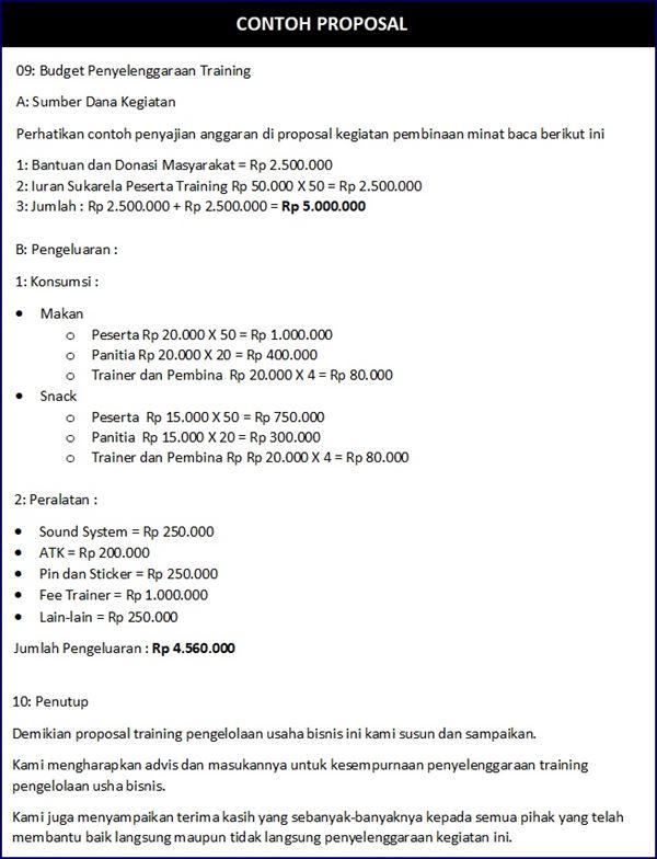 Budget Proposal Bisnis