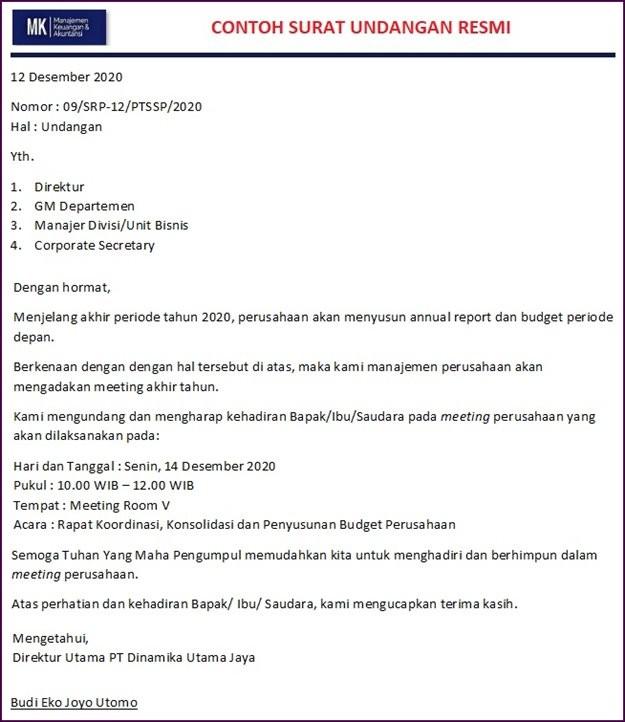 contoh surat undangan rapat internal perusahaan