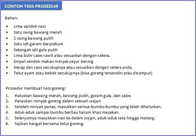 contoh teks prosedur membuat nasi goreng beserta analisisnya