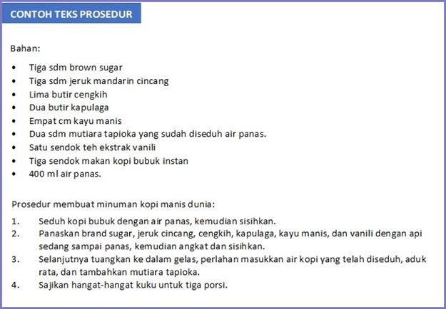 contoh teks prosedur membuat minuman